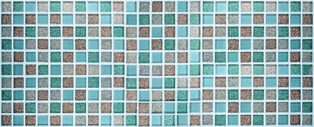 Quadrado padrão de azulejos de mosaico brilhante de cor azul e marrom para fundo de banner de textura