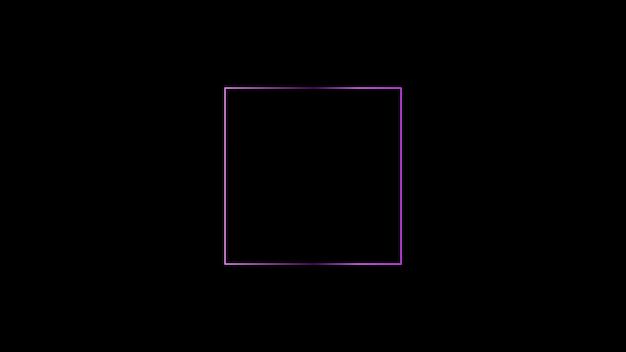 Quadrado rosa sobre fundo preto moldura quadrada rosa minimalista