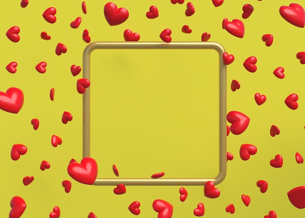 Quadro 3d com amor de coração flutuante em fundo amarelo