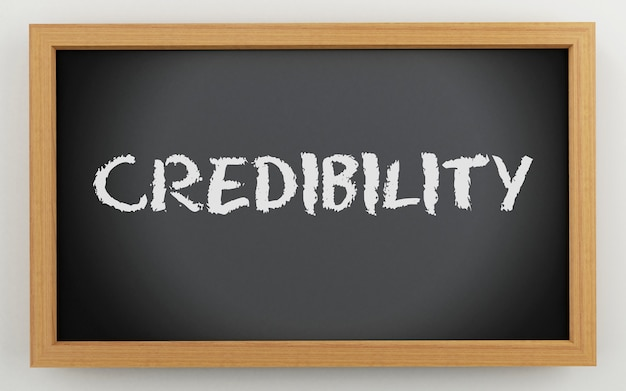 Quadro 3d com texto de credibilidade