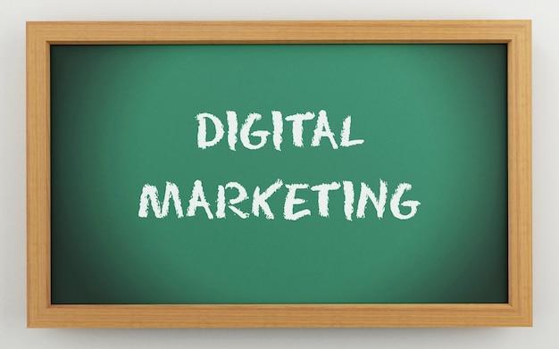 Quadro 3d com texto de marketing digital