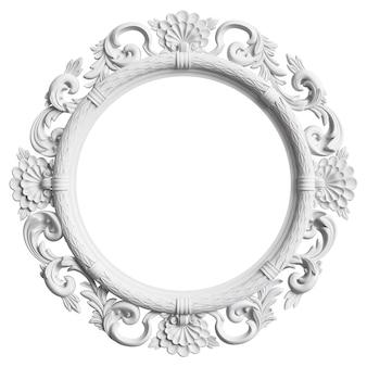 Quadro branco clássico com decoração ornamento isolado no fundo branco