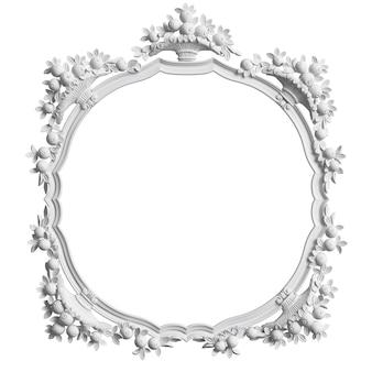 Quadro branco clássico com decoração ornamento isolado