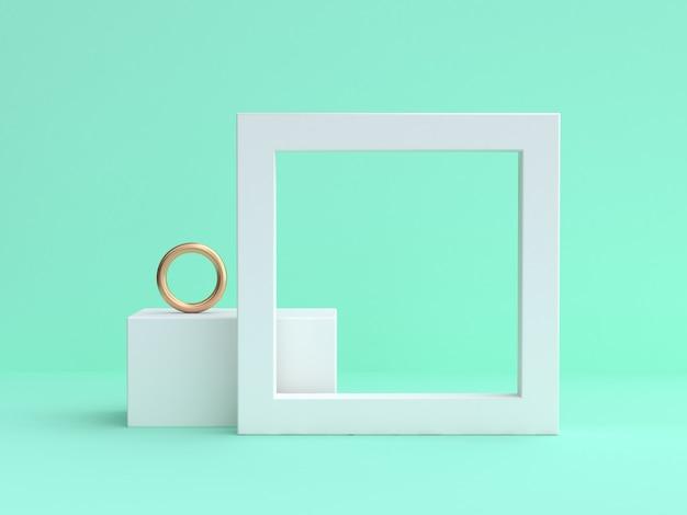 Quadro branco em branco mínimo verde renderização em 3d