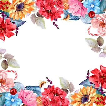 Quadro buquê de flores isolado aquarela pintura