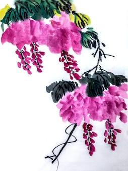 Quadro chinês elemento branco botânica flor