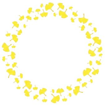 Quadro circular de outono com folhas amarelas