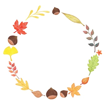 Quadro circular de outono com folhas