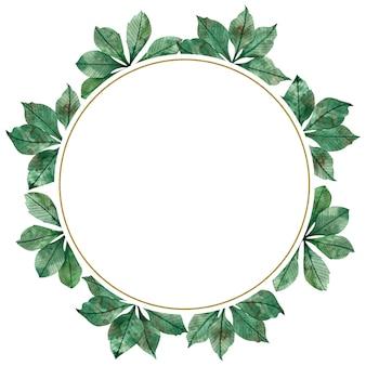 Quadro circular em aquarela de temporada outono