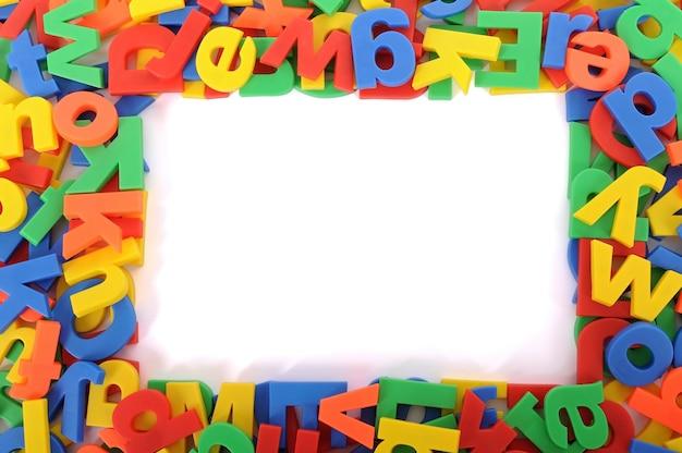 Quadro colorido com letras de alplhabet
