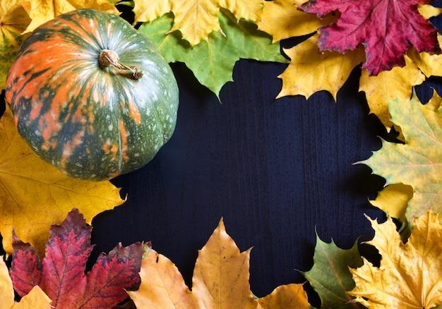 Quadro com abóbora e maple folhas