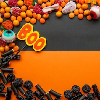 Quadro com doces e lentilhas