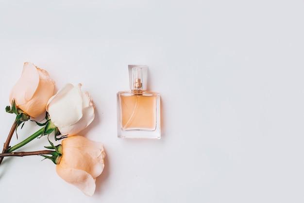 Quadro com flores de rosas e perfume em tons de rosa pastel sobre fundo branco