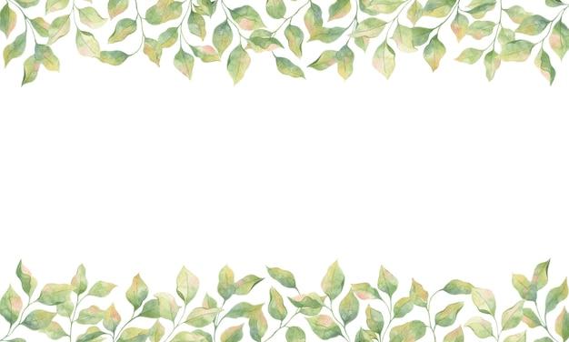 Quadro com folhas verdes em aquarela, elementos únicos em um fundo branco, galhos de macieiras.