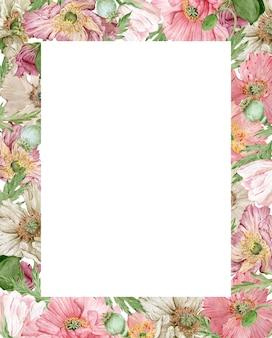 Quadro com lindas flores rosa e bege em aquarela
