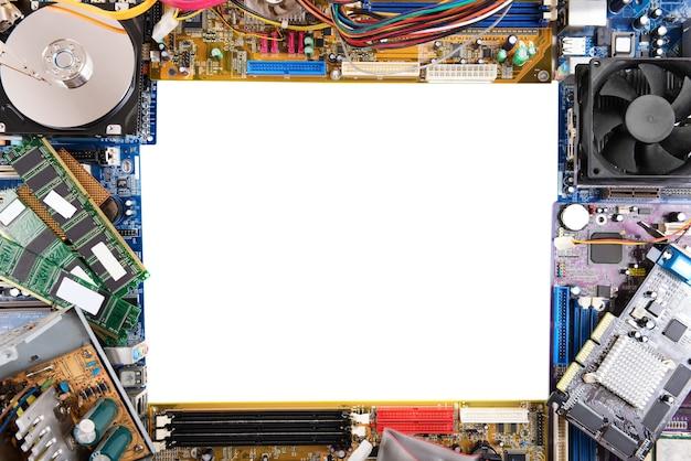 Quadro com placas-mãe de computador e disco rígido em branco