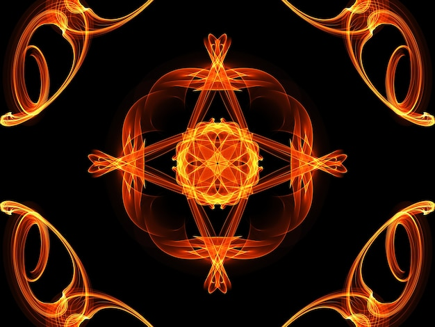 Quadro completo ilustrado padrão de flor de fogo brilhante sem costura em fundo preto