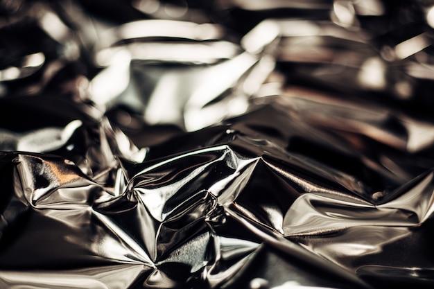 Quadro completo leva de uma folha de alumínio prata amassado