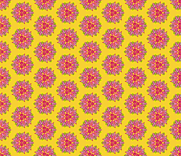 Quadro completo padrão de flor rosa ilustrado sem costura em fundo amarelo