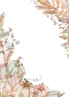 Quadro de abóbora aquarela com folhas de outono, endro, espigas de trigo. cartão de ação de graças.