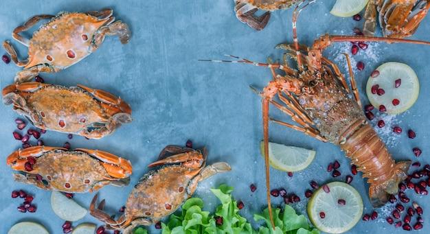 Quadro de alimentos com crustáceo