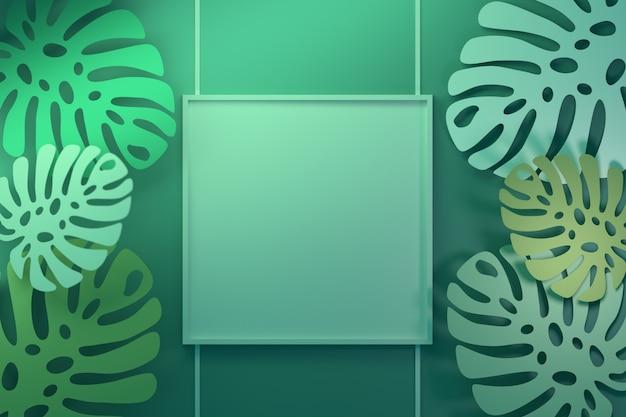 Quadro de apresentação com folhas tropicais em verde