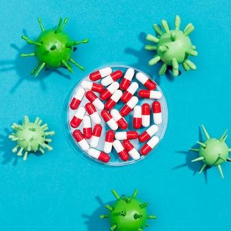 Quadro de bactérias vírus com pílulas