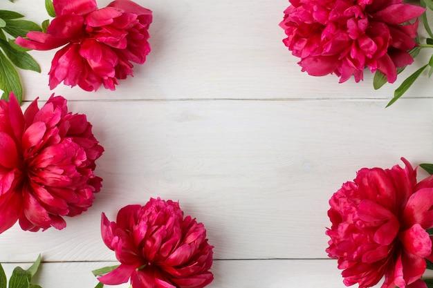 Quadro de belas flores de peônia rosa brilhante sobre um fundo branco de madeira. vista do topo. espaço para texto