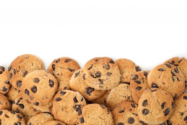 Quadro de biscoitos de chocolate isolado no fundo branco