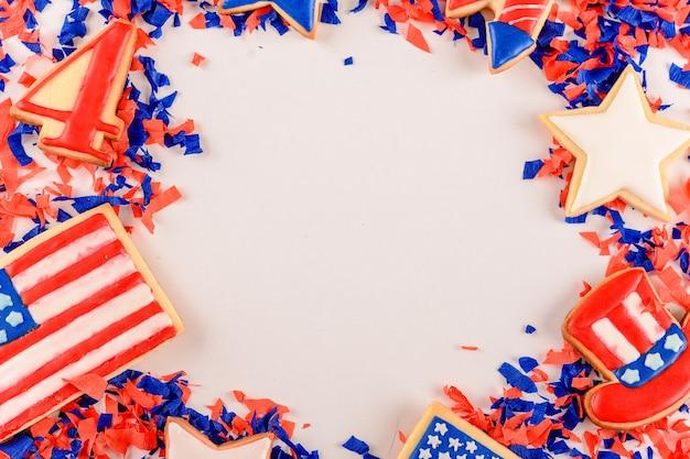 Quadro de biscoitos patrióticos da américa