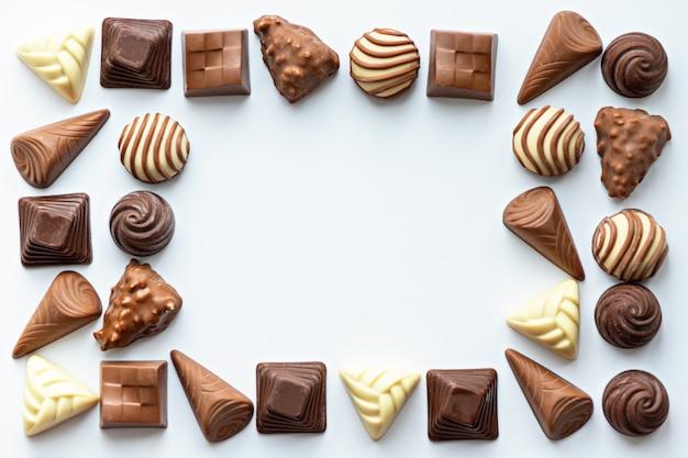 Quadro de bombons de chocolate isolado