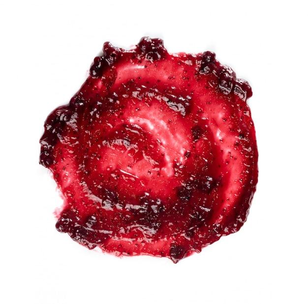 Quadro de borrão redondo vermelho escuro berry jam ou local isolado