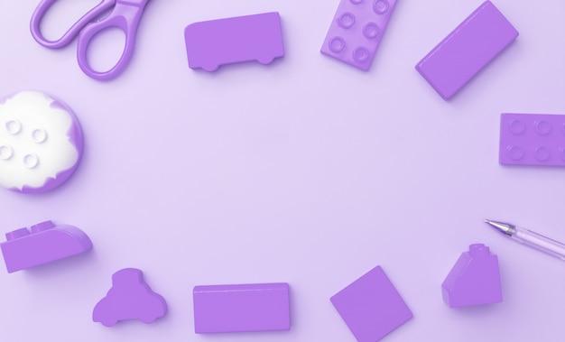 Quadro de brinquedos de crianças no fundo roxo com brinquedos plano leigos vista superior com o centro vazio