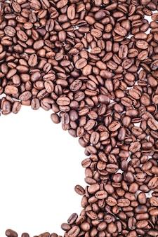 Quadro de canto de quarto de círculo de grãos de café torrados