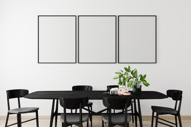 Quadro de cartaz de maquete em fundo interior moderno, sala de estar, estilo escandinavo, 3d render, ilustração 3d