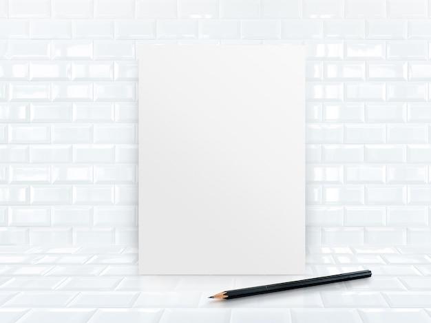 Quadro de cartaz de papel em parede de cerâmica e piso com lápis de esboço preto