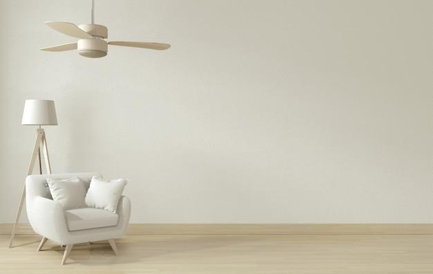 Quadro de cartaz e sofá branco no interior de sala de estar interior.