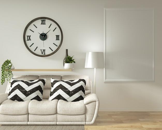 Quadro de cartaz interior mock até sala de estar com sofá branco