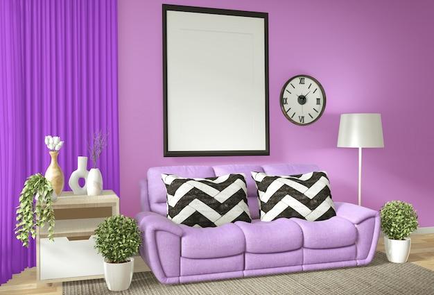 Quadro de cartaz interior mock up sala de estar com parede roxa andl sofá branco renderização em 3d