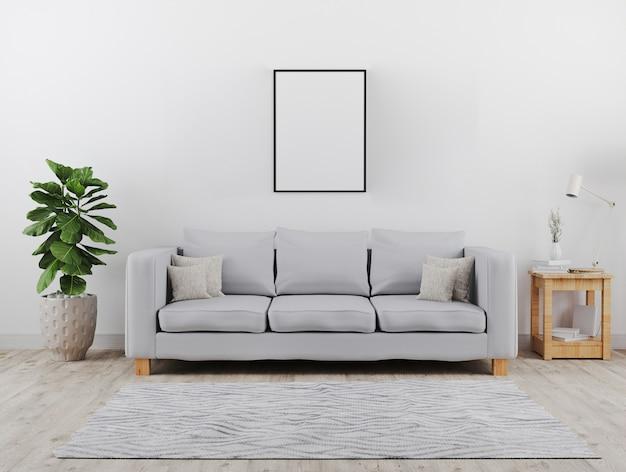 Quadro de cartaz preto vertical simulado acima. moderna sala de estar com maquete do sofá cinza. estilo escandinavo, interior acolhedor e elegante. renderização em 3d