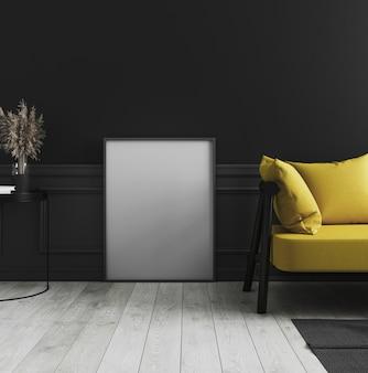 Quadro de cartaz vertical em branco simulado em pé no chão de madeira branco no escuro interior moderno com parede preta e sofá amarelo, moldura vazia no interior elegante de luxo, renderização em 3d