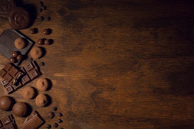 Quadro de chocolate de energia com espaço de cópia