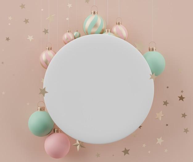 Quadro de cilindro branco em branco com conceito de natal para exposição de produtos