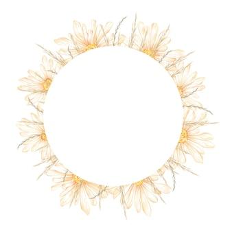 Quadro de círculo de natureza desenhada a mão em aquarela com ilustração de grinalda floral de ervas de flores de camomila