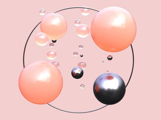 Quadro de círculo preto renderização 3d forma geométrica abstrata rosa