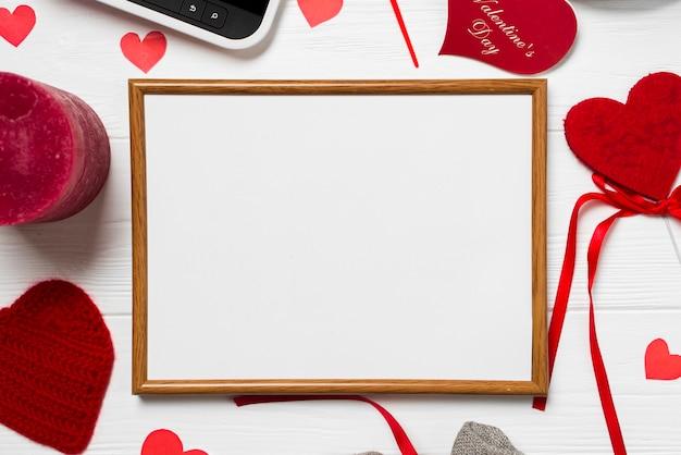 Quadro de close-up e coisas do dia dos namorados