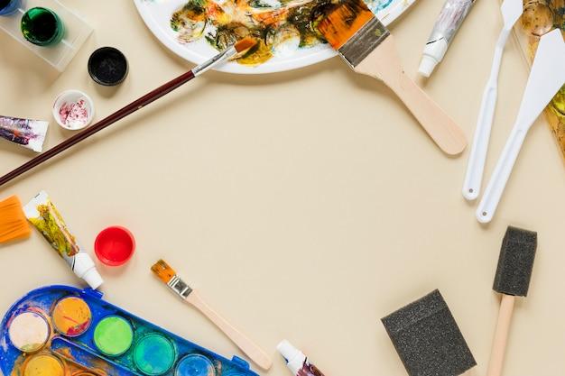 Quadro de coleção de ferramentas de artista