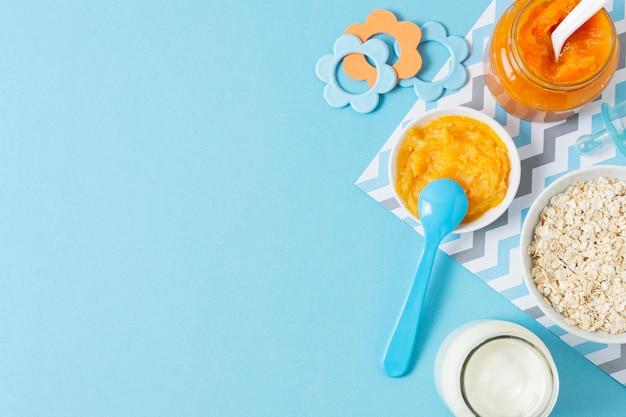 Quadro de comida caseira de bebê vista superior