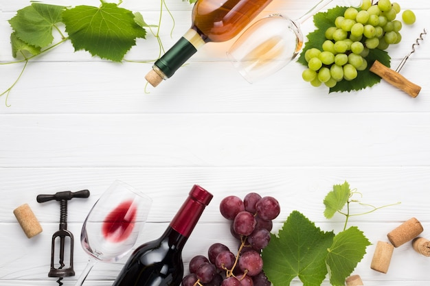 Quadro de comida com vinho tinto e branco