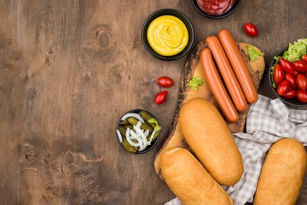 Quadro de comida com vista superior do copy-space